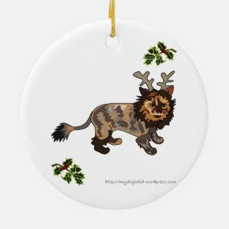 Reindeer Kitty cartoon cat ornament