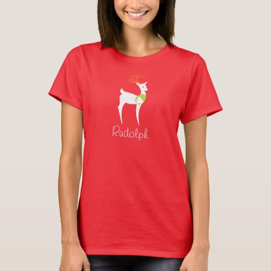 Reindeer, Ladies Christmas Red Tee