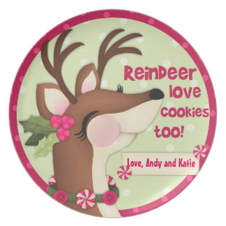 """Reindeer Love Cookies"" Personalized Cookie Plate"
