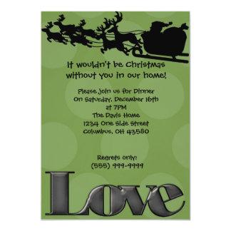 "Reindeer Love (green) 5"" X 7"" Invitation Card"
