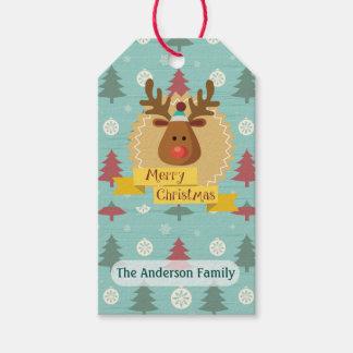 Reindeer Merry Christmas Custom Gift Tags