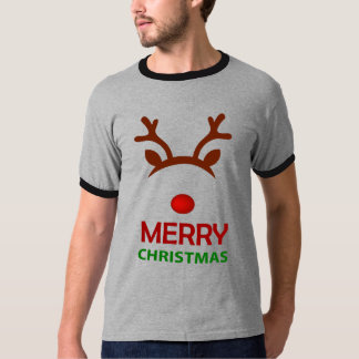 Reindeer Merry ChristmasMen's Basic Ringer T-Shirt