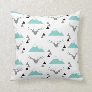 Reindeer mounts green throw pillow