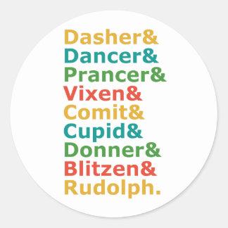 Reindeer Names Classic Round Sticker