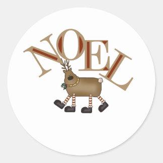 Reindeer NOEL Classic Round Sticker