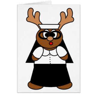 Reindeer Nun Greeting Card