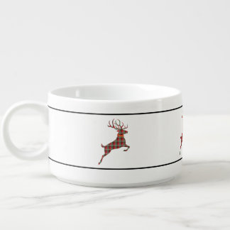 Reindeer on Red and Green Tartan Christmas Plaid Bowl