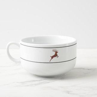 Reindeer on Red and Green Tartan Christmas Plaid Soup Mug