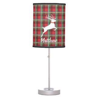 Reindeer on Red and Green Tartan Christmas Plaid Table Lamp