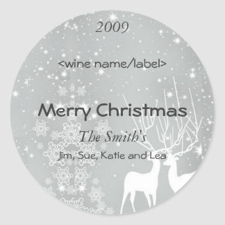 Reindeer on Silver Christmas Wine Labels Round Sticker