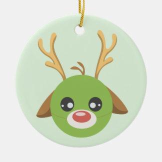 Reindeer Pea Ceramic Ornament