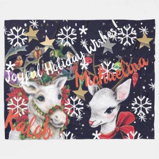 Reindeer Personalized Fleece Blanket