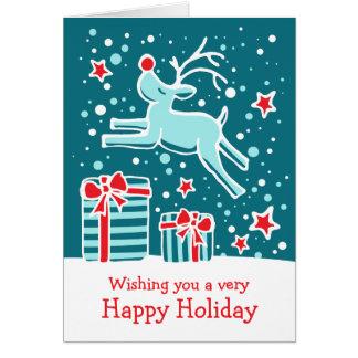 Reindeer prancing gifts teal green Christmas card