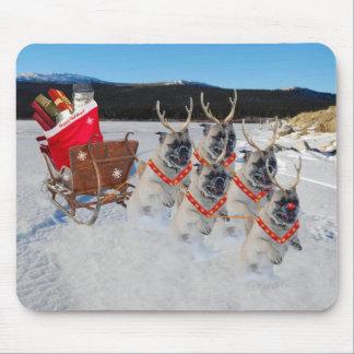 Reindeer Pugs Pulling Santa's Sleigh Mousepad