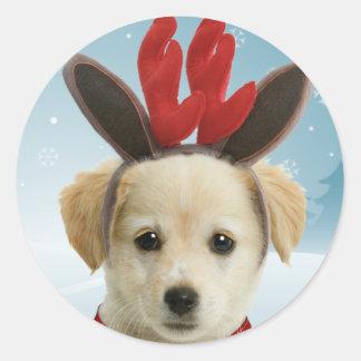 Reindeer Puppy Christmas Stickers