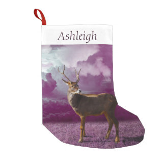Reindeer Purple Fantasy Small Christmas Stocking