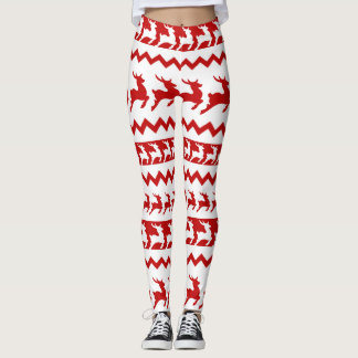 Reindeer Red and White Leggings