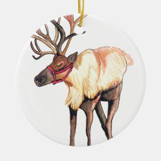 Reindeer Round Ceramic Ornament