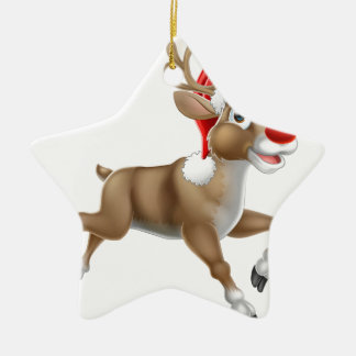 Reindeer Running Christmas Cartoon Ceramic Ornament