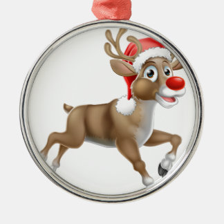 Reindeer Running Christmas Cartoon Metal Ornament
