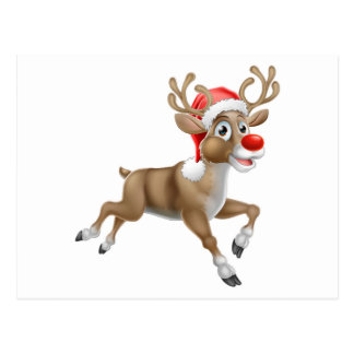 Reindeer Running Christmas Cartoon Postcard