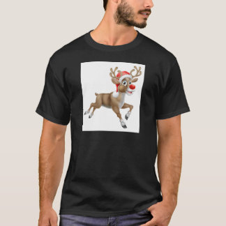 Reindeer Running Christmas Cartoon T-Shirt