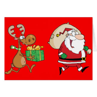 Reindeer running with Santa delivering gifts Greeting Cards