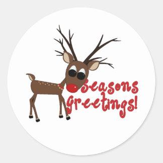 Reindeer Season's Greetings Round Sticker