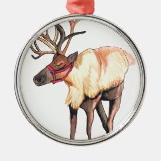 Reindeer Silver-Colored Round Ornament