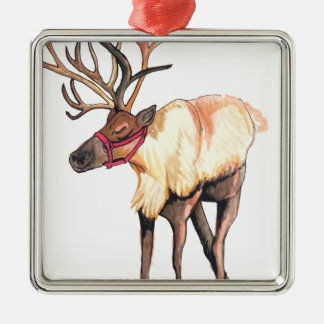 Reindeer Silver-Colored Square Ornament