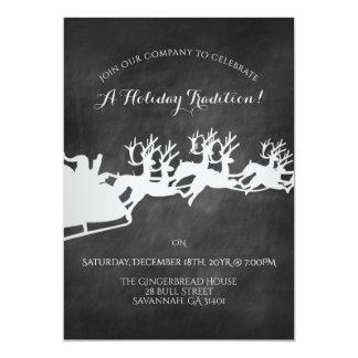 Reindeer Sleigh Chalkboard Holiday Celebration Card