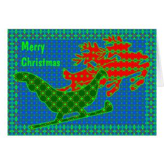 Reindeer & sleigh quilt card