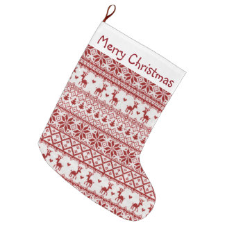 Reindeer, Snowflakes and Christmas Trees Large Christmas Stocking