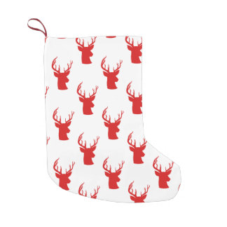 Reindeer | Stag | Antler Red Holiday Pattern Small Christmas Stocking