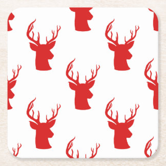 Reindeer | Stag | Antler Red Holiday Pattern Square Paper Coaster