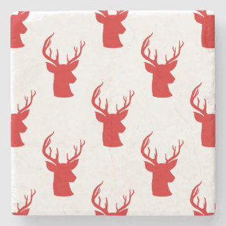 Reindeer | Stag | Antler Red Holiday Pattern Stone Coaster