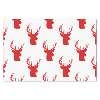 Reindeer | Stag | Antler Red Holiday Pattern Tissue Paper