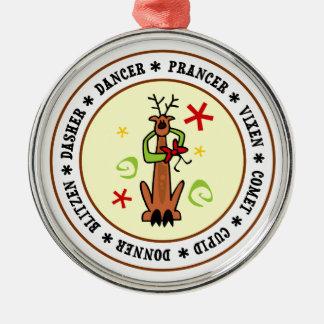 Reindeer Stars & Swirls Cartoon Silver-Colored Round Ornament