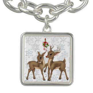 Reindeer sterling silver plated charm bracelet