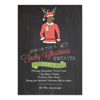 Reindeer Tacky Sweater Christmas Party Invitation