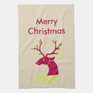 Reindeer tennis balls hand towels