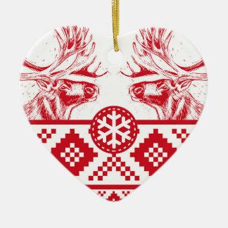 Reindeer Toile de Jouy Heart Ceramic Ornament