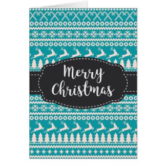 Reindeer Trees Snowflake Blue Merry Christmas Card