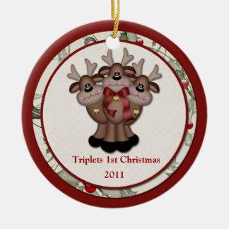 Reindeer Triplets 1st Christmas Ceramic Ornament