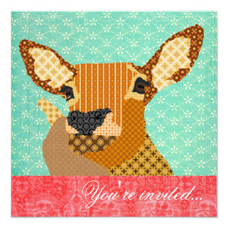 """Reindeer Turquoise Red 5.25"""" Square Invitation Card"""