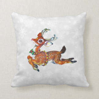 reindeer vintage art pillow