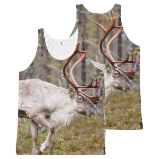 Reindeer walking in forest All-Over-Print tank top