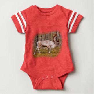Reindeer walking in forest baby bodysuit