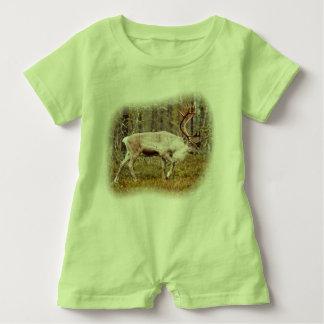 Reindeer walking in forest baby romper