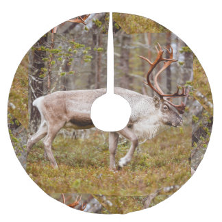 Reindeer walking in forest brushed polyester tree skirt